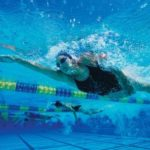 Swimmer at a coached swim session