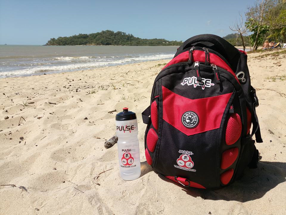 Pulse bag and bottle on beach - Carlos Nunos: Kewarra Beach, Cairns, posted 11 August 2017.