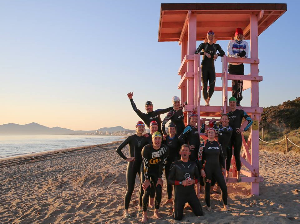 Pulse members posing in a lifeguard tower on a beach - John Kirwan: Pulse Training Camp, Majorca, posted 8 April 2017.