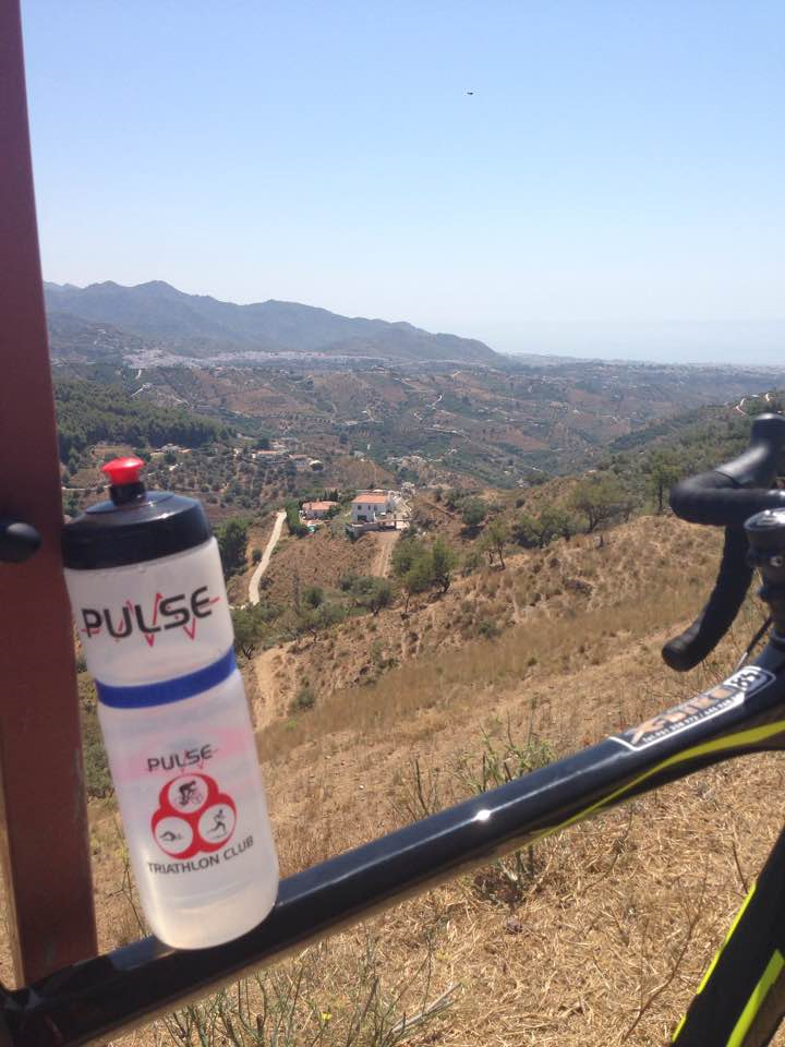 Pulse water bottle resting on bike crossbar overlooking a hill - Mark Kilpatrick: near Nerja, Spain, posted 30 July 2017
