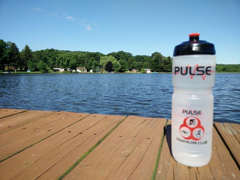 Pulse water bottle on wooden dock beside a lake - Ní Lochlainn Annanna: Pennsylvania, USA, posted 4 July 2017.