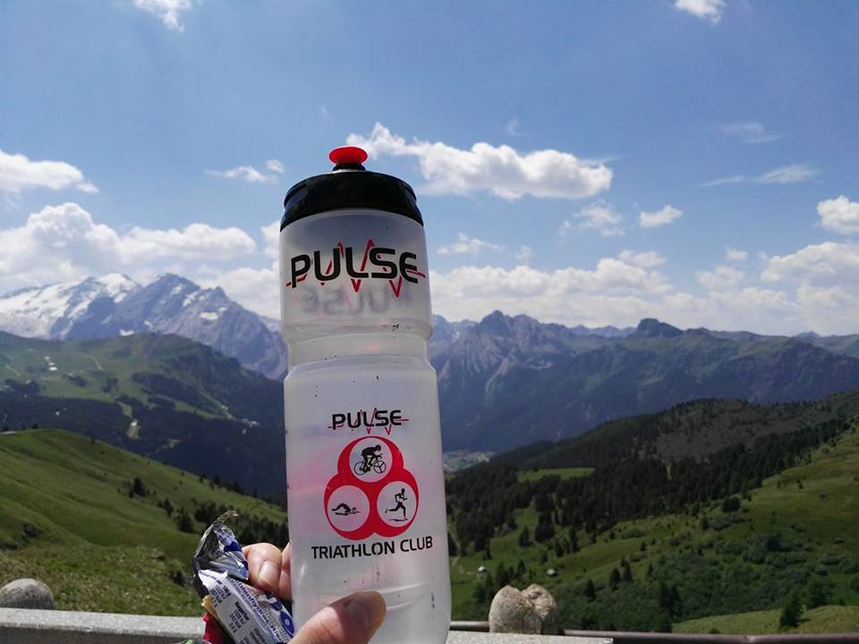 Pulse water bottle with mountains in the background - Raechel Campbell: Maratona dles Dolomites, Italy, posted 24 June 2017.