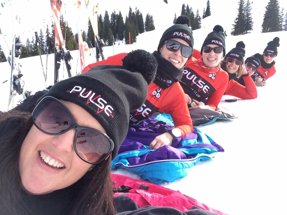 Pulse ladies posing on ski slope - Sandra Greville: Today FM Ski Trip, near Kirchberg, 3 February 2017.