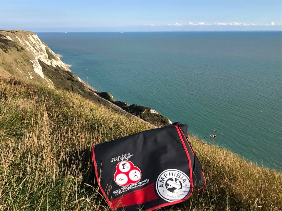 Pulse bag on grassy slope overlooking the Cliffs of Dover - Barry O'Sullivan, Kent, posted 22 September 2017.