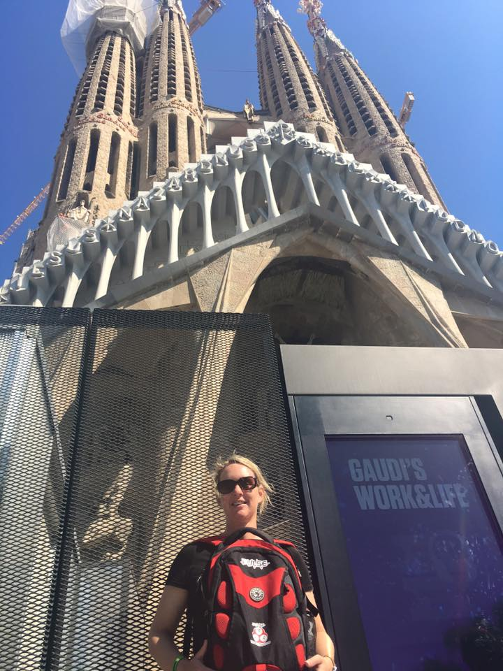 Jen standing with Pulse bag outside the front of La Sagrada Familia - Jen Shorten, Barcelona, posted 6th October 2017