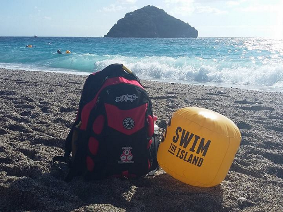 Pulse bag on Spotorno Beach with Bergeggi Island in the background - Siobhan Quain, Swim the Island, near Bregiggi, Italy, posted 9th October 2017.